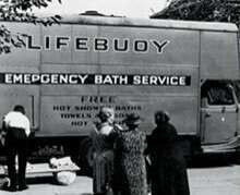 Lifebuoy provides emergency washing facilities in Britain during WWII
